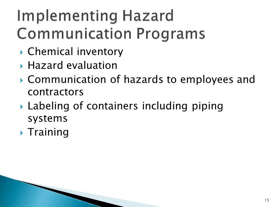 Implementing Hazard Communication Programs