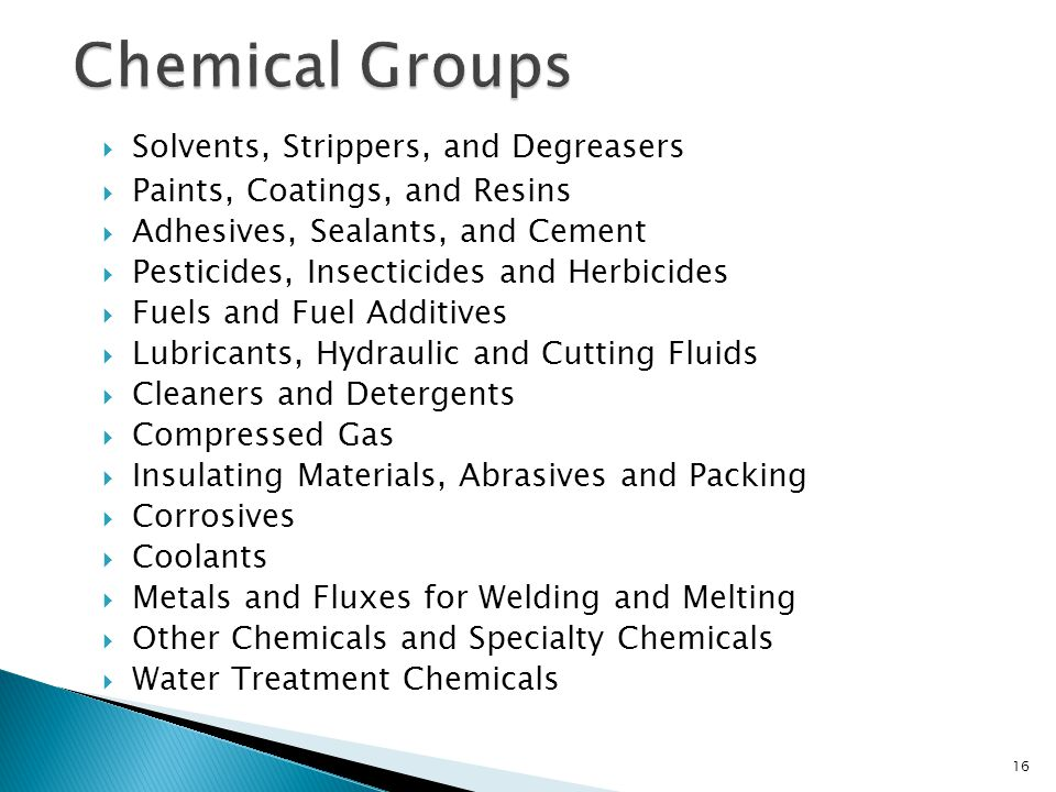 Chemical Groups Solvents, Strippers, and Degreasers