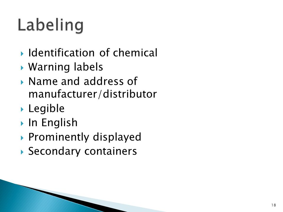 Labeling Identification of chemical Warning labels