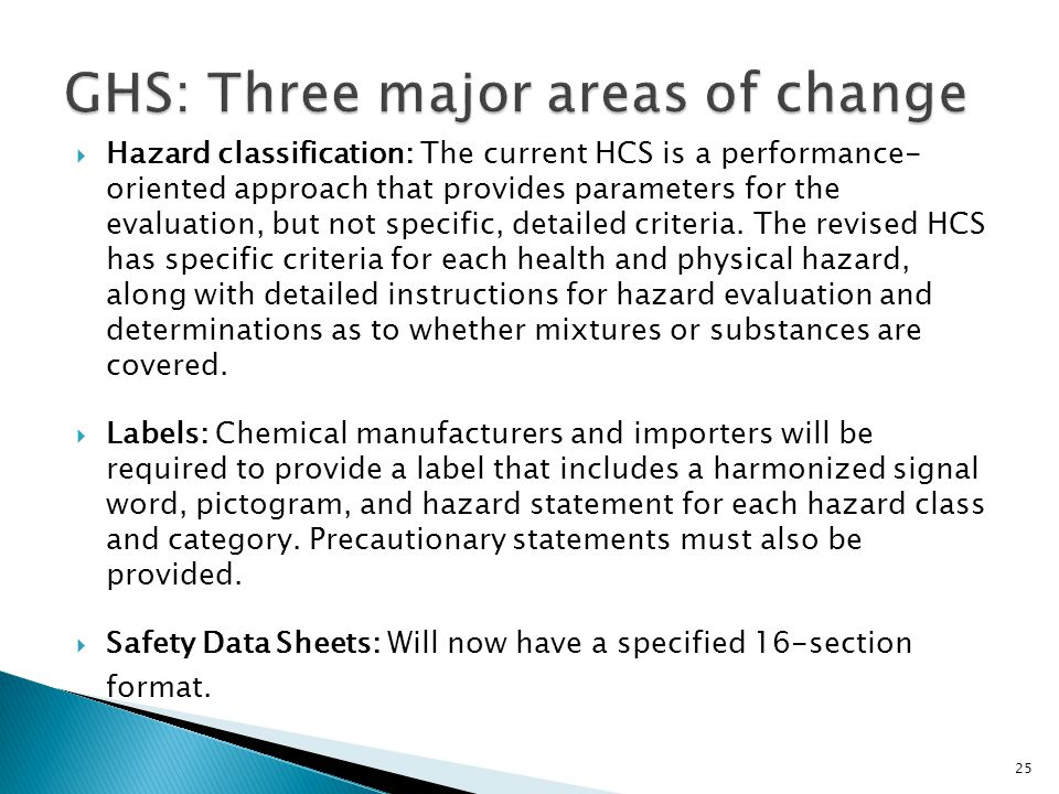 GHS: Three major areas of change
