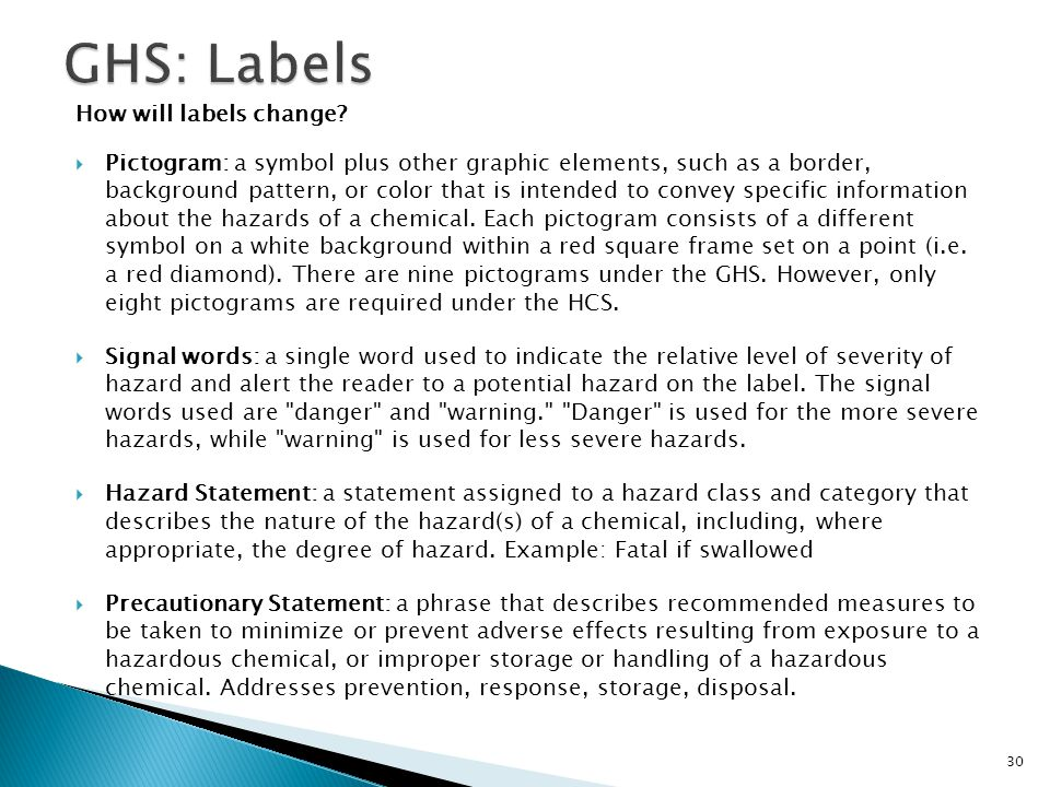 GHS: Labels How will labels change