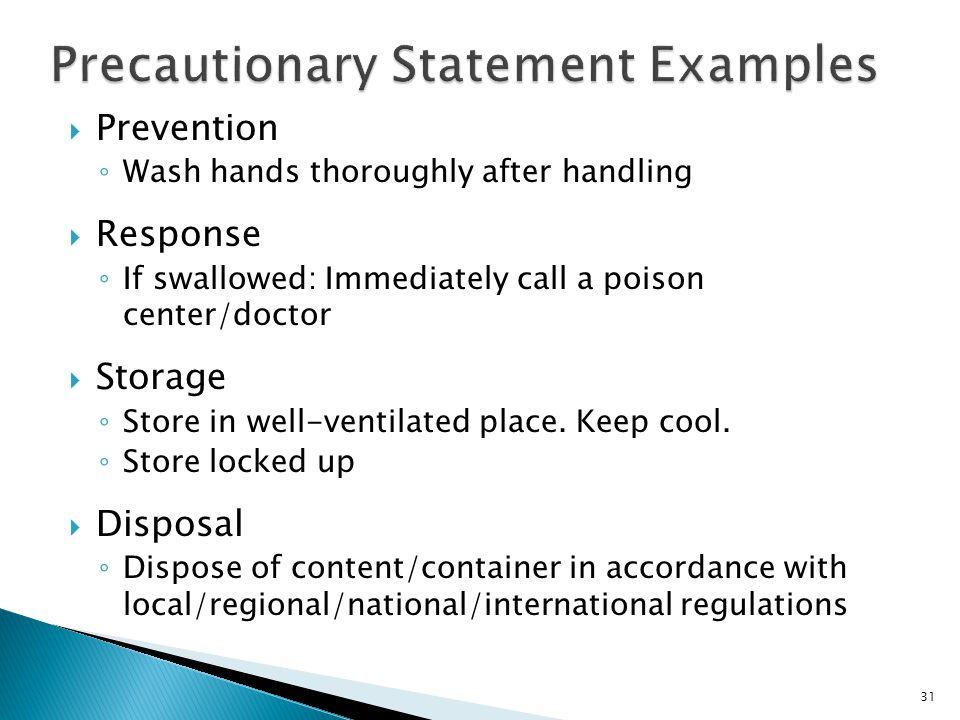 Precautionary Statement Examples