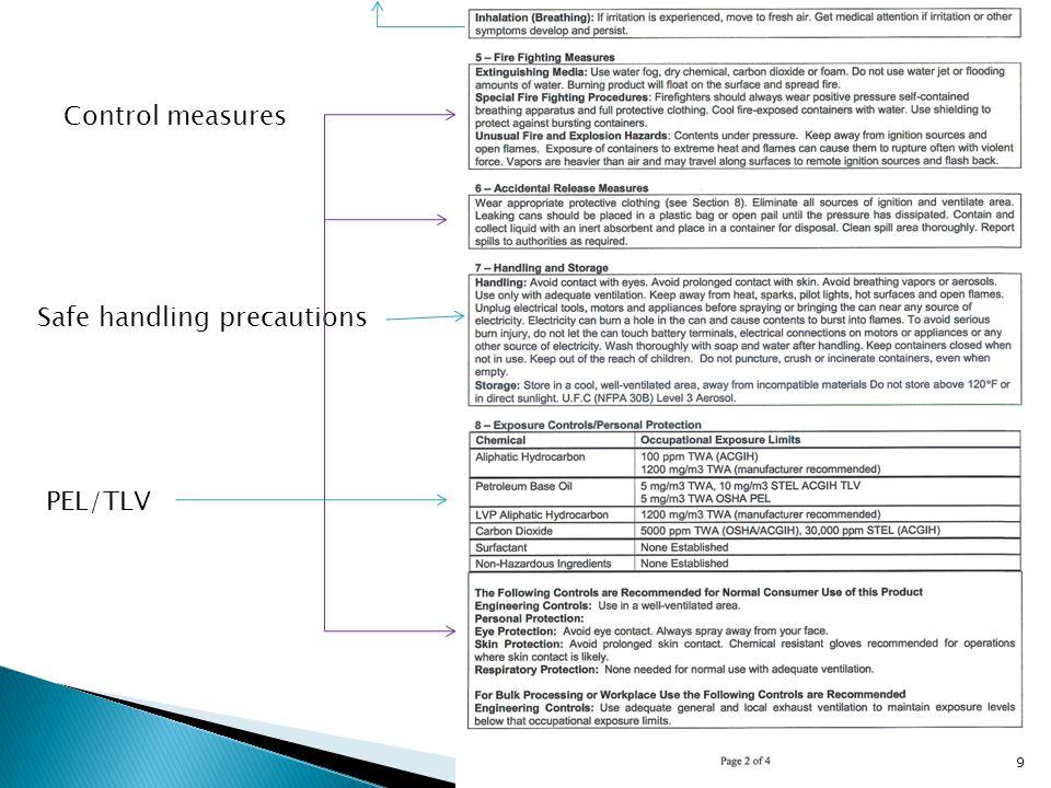 Control measures Safe handling precautions PEL/TLV