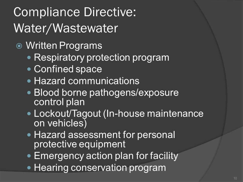 Compliance Directive: Water/Wastewater