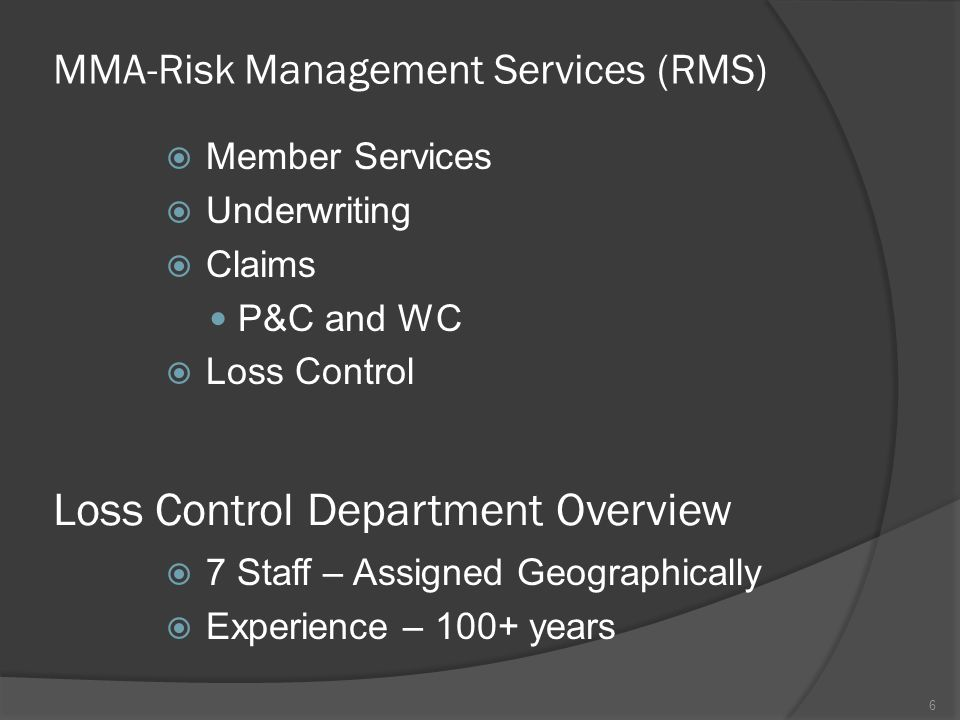 MMA-Risk Management Services (RMS)