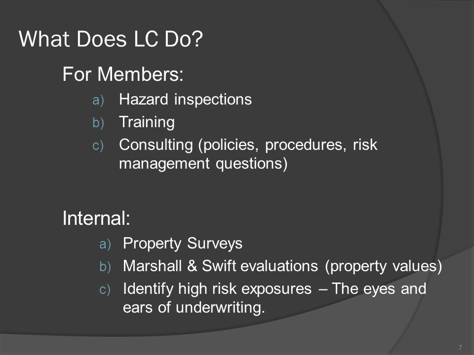 What Does LC Do For Members: Internal: Hazard inspections Training