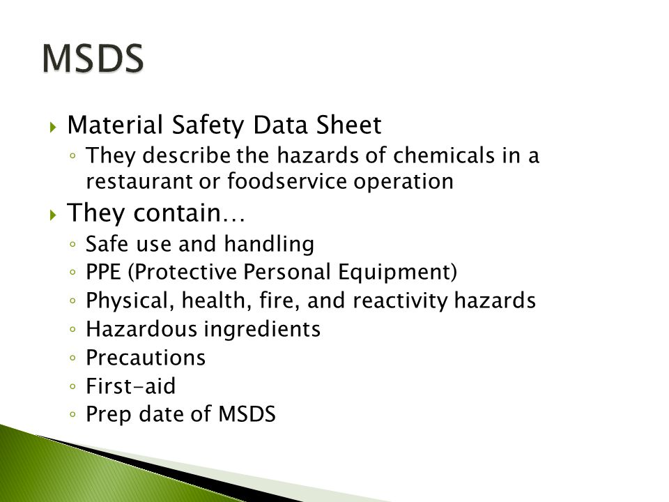 MSDS Material Safety Data Sheet They contain…