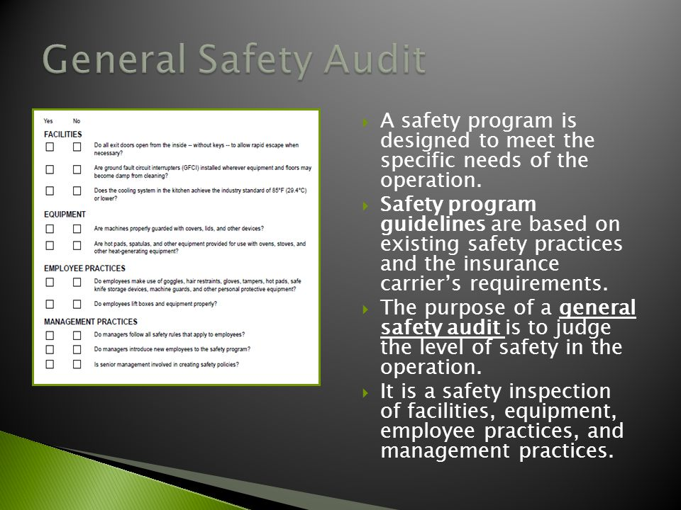 General Safety Audit A safety program is designed to meet the specific needs of the operation.