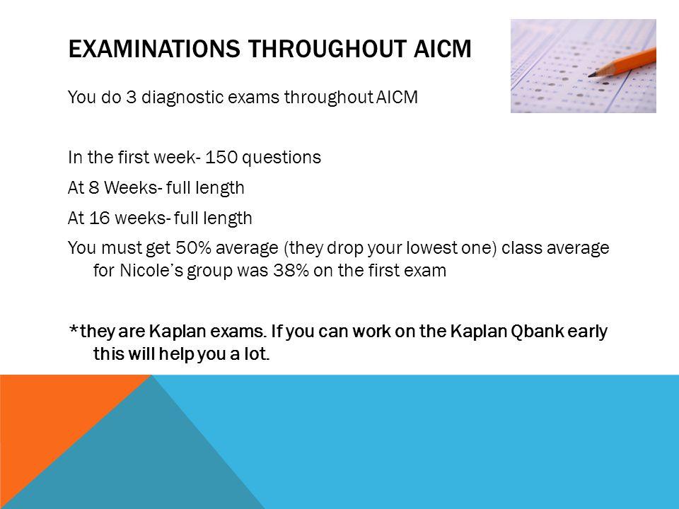 Examinations throughout AICM