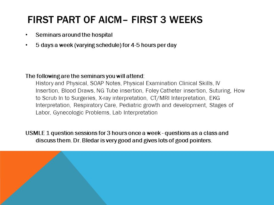 First part of AICM– first 3 weeks