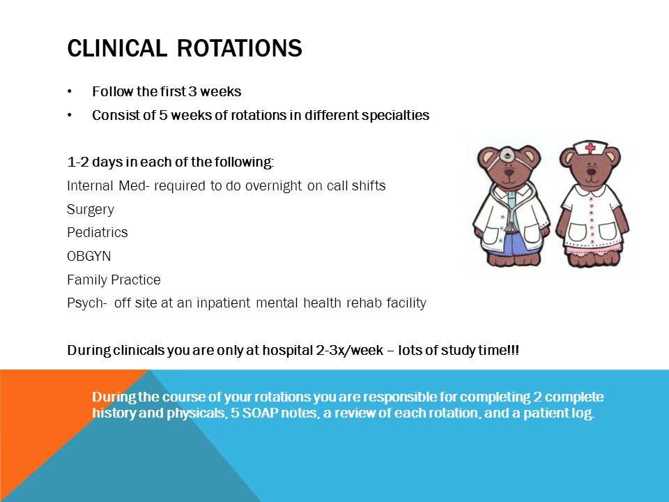 Clinical Rotations Follow the first 3 weeks