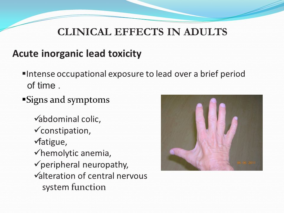 lead symptoms and exposure route Aiming for lower lead exposure  symptoms of lead exposure  hands before they put their fingers in their mouths ingestion is their primary route of exposure.
