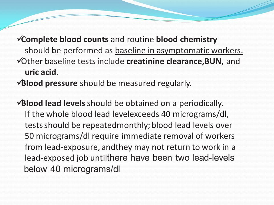 Complete blood counts and routine blood chemistry