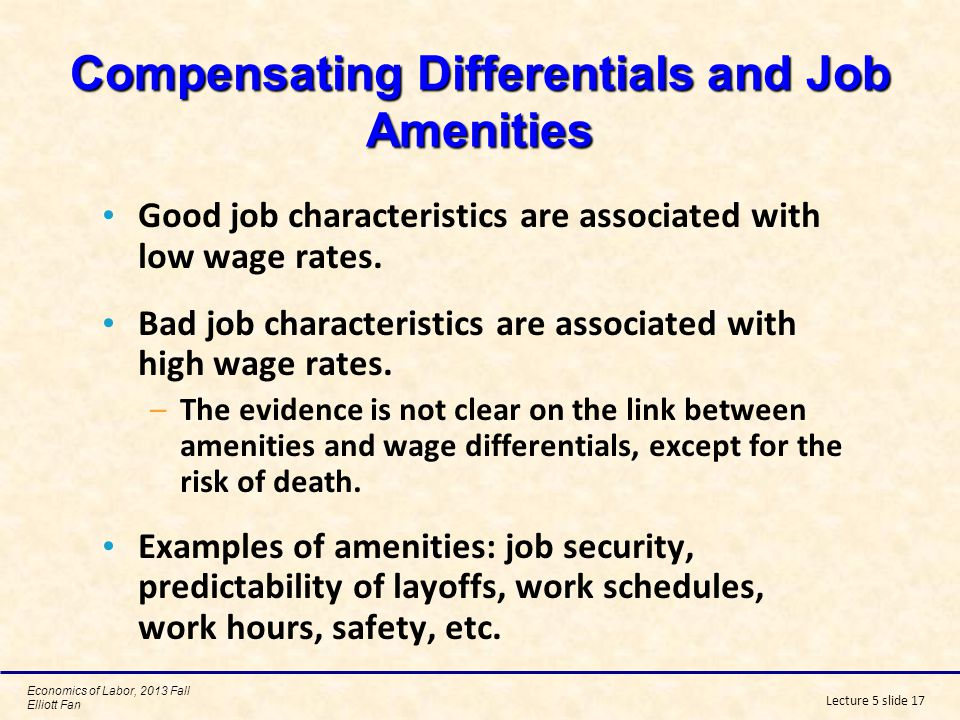Compensating Differentials and Job Amenities