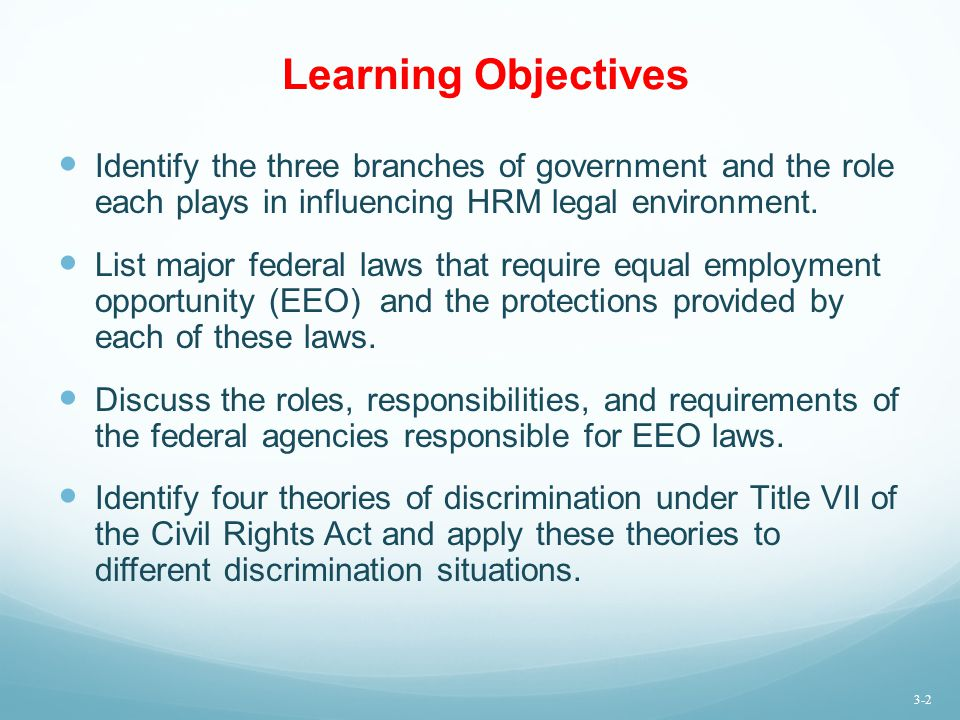 Learning Objectives Identify the three branches of government and the role each plays in influencing HRM legal environment.