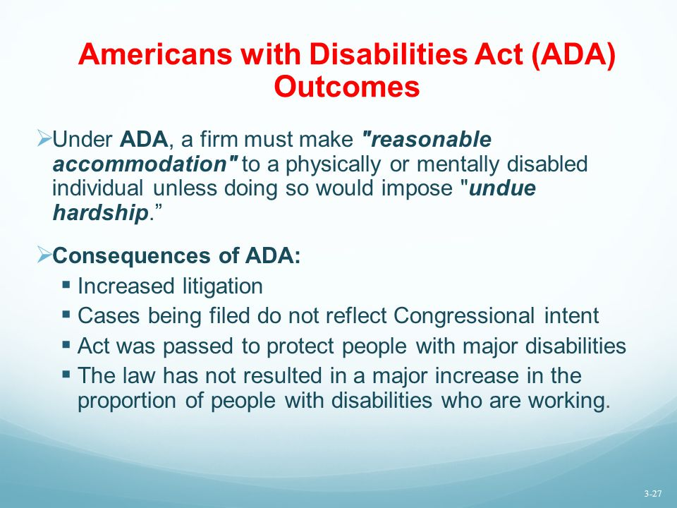 Americans with Disabilities Act (ADA) Outcomes