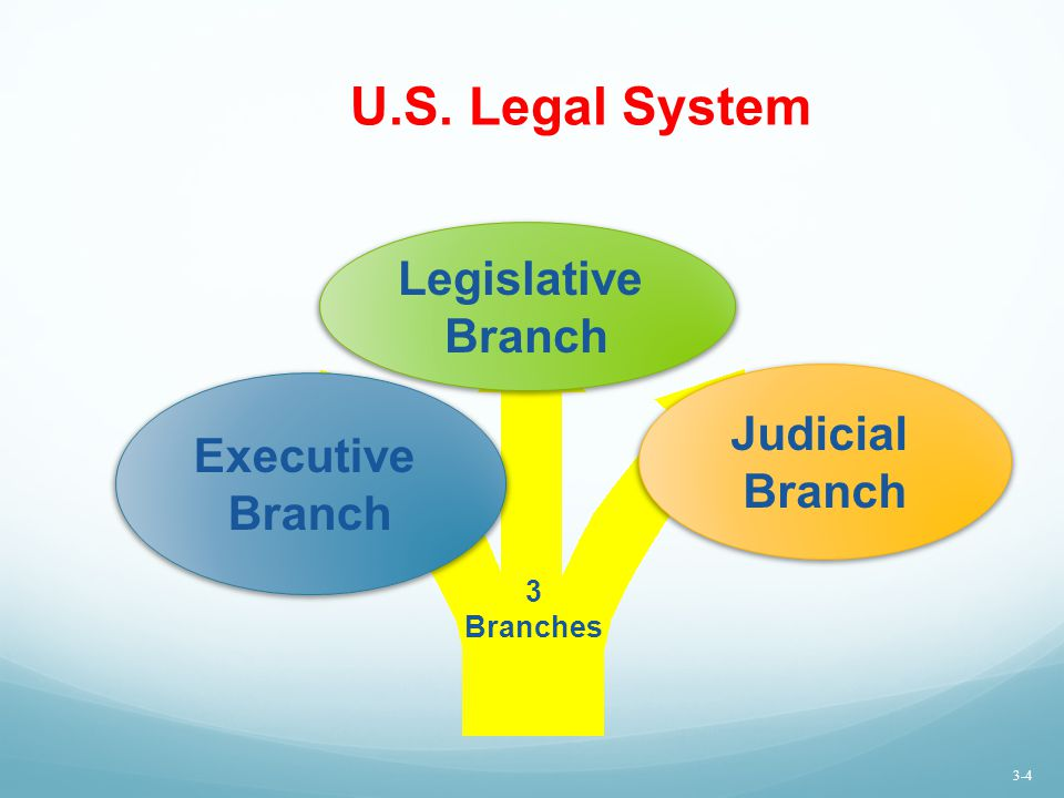 U.S. Legal System Legislative Branch Judicial Executive Branch Branch