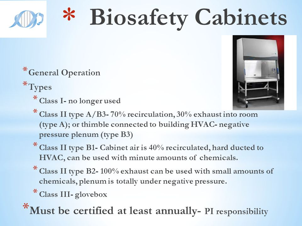 Biosafety Cabinets General Operation. Types. Class I- no longer used.