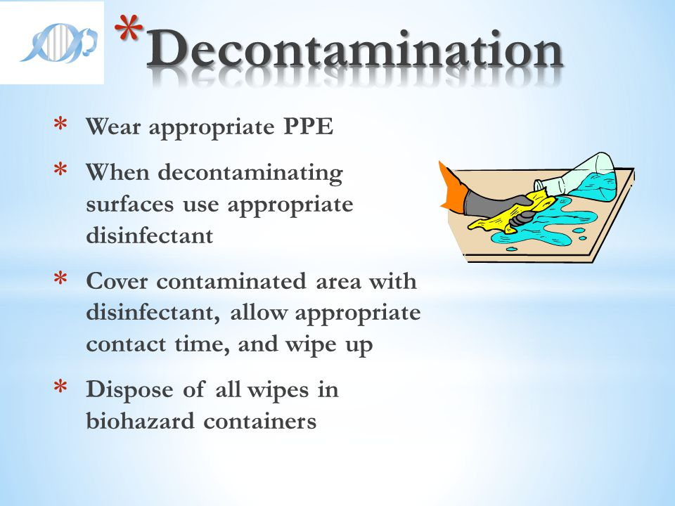 Decontamination Wear appropriate PPE