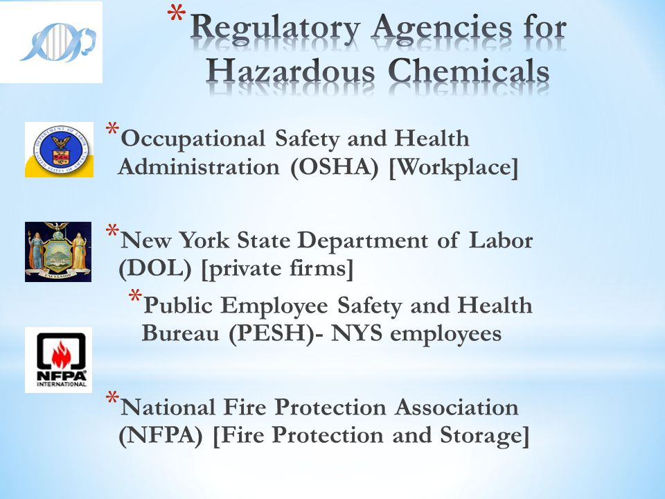 Regulatory Agencies for Hazardous Chemicals