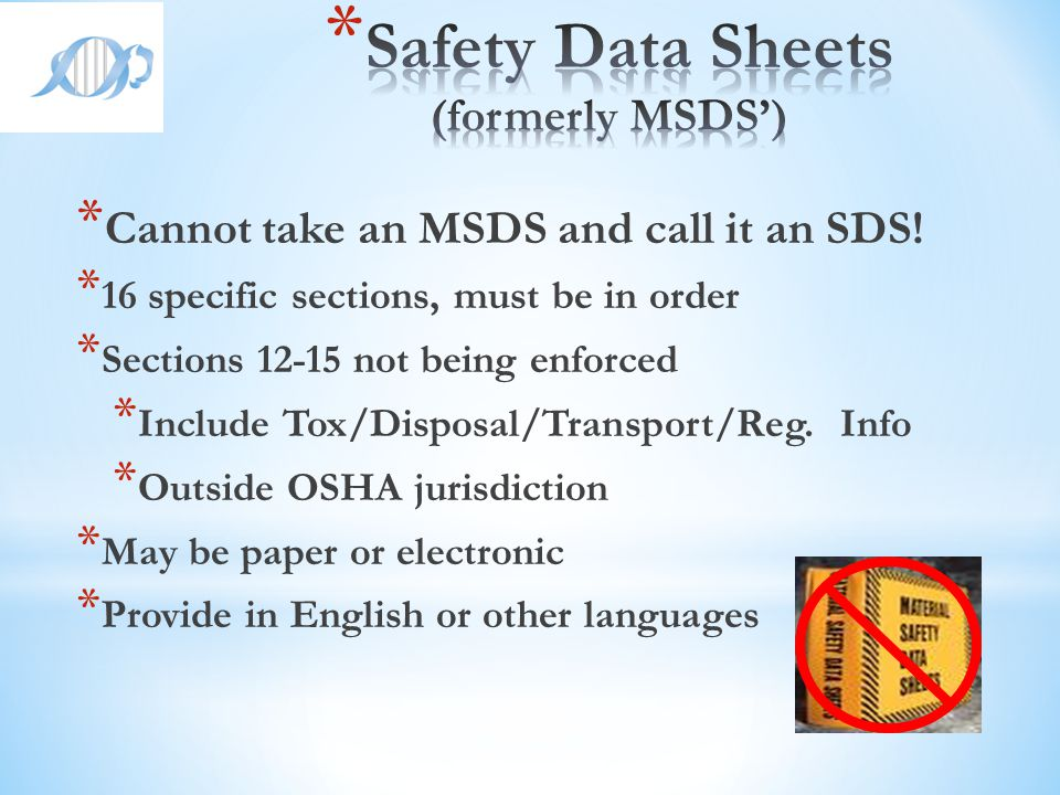 Safety Data Sheets (formerly MSDS')