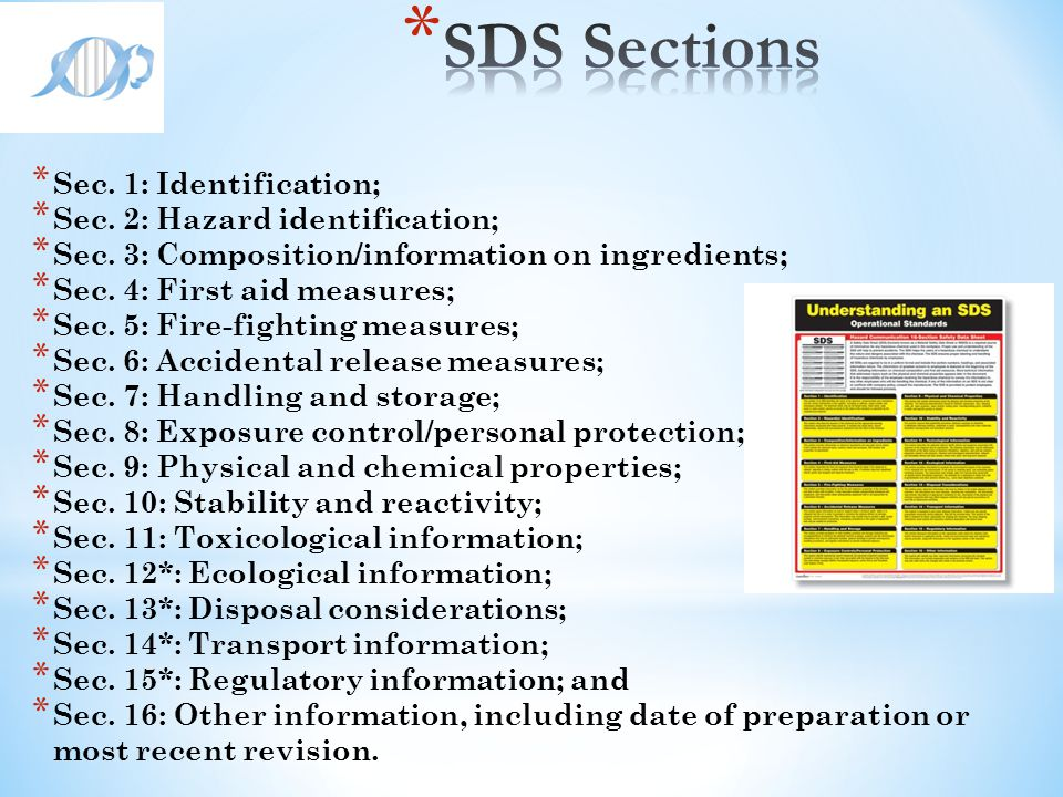SDS Sections Sec. 1: Identification; Sec. 2: Hazard identification;
