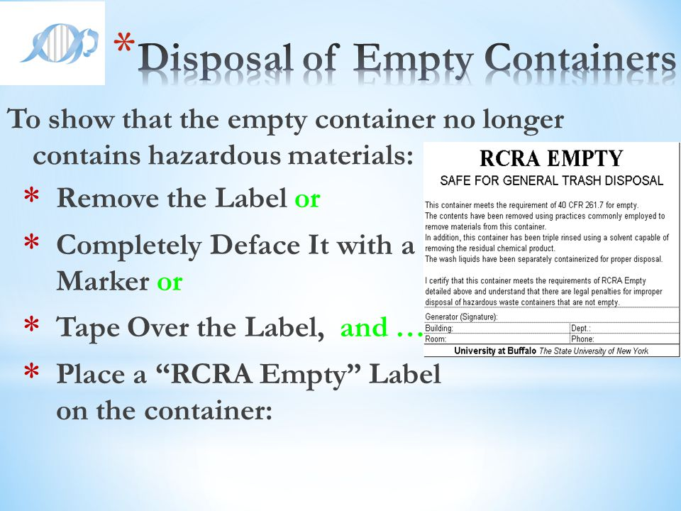 Disposal of Empty Containers