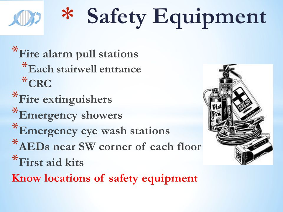 Safety Equipment Fire alarm pull stations Fire extinguishers