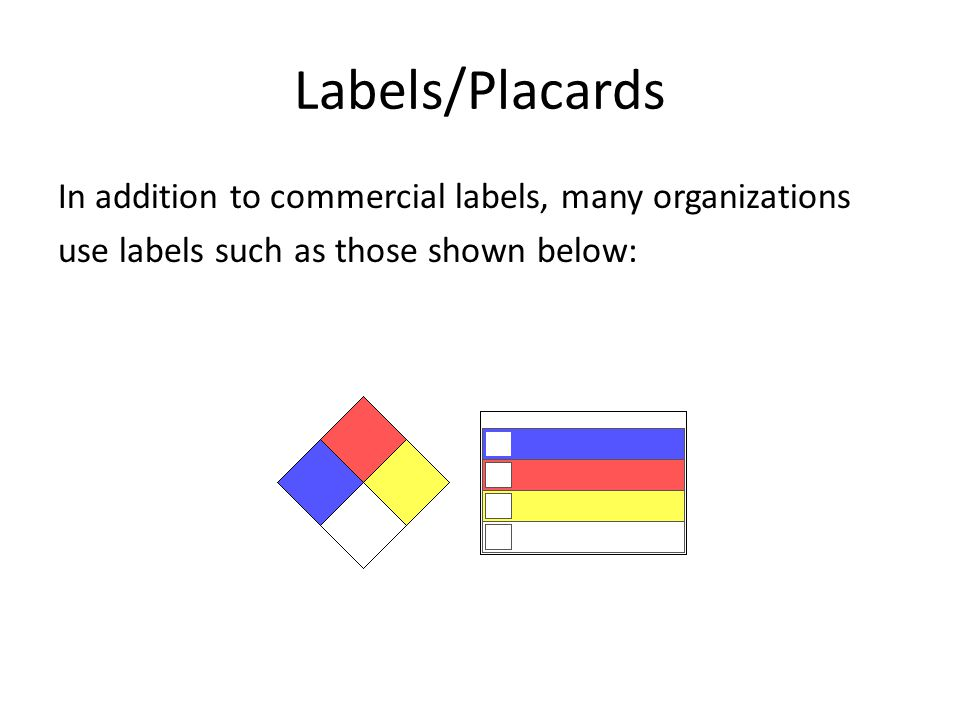Labels/Placards In addition to commercial labels, many organizations use labels such as those shown below: