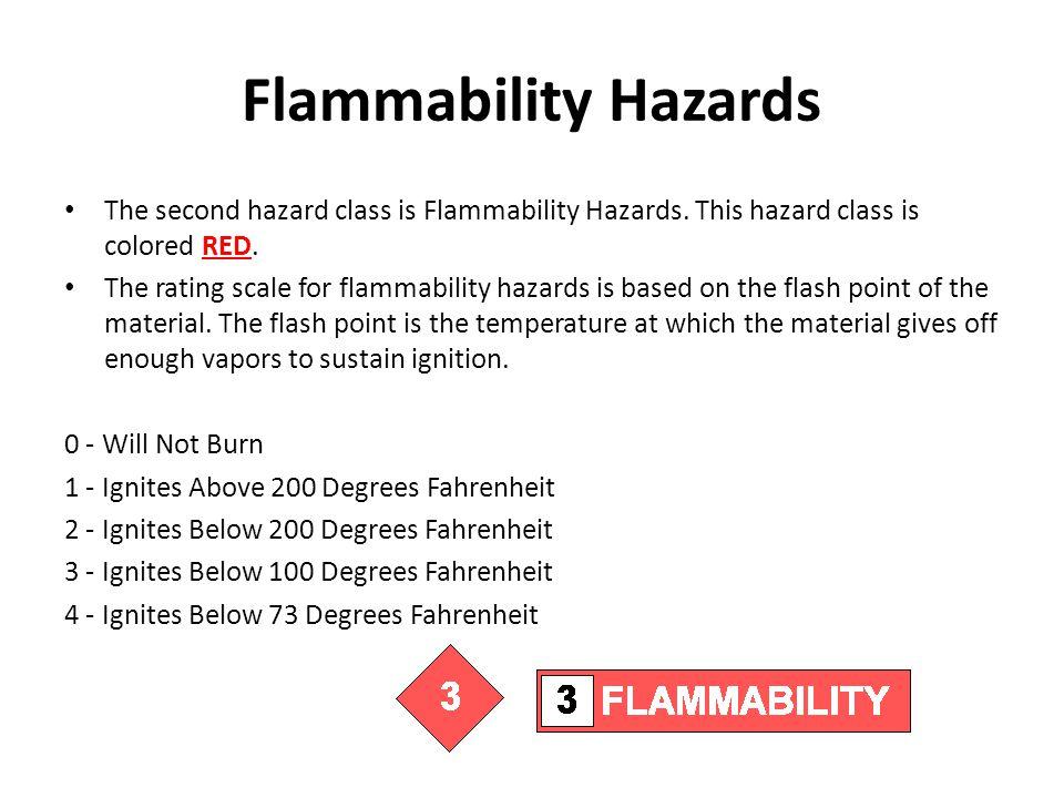 Flammability Hazards The second hazard class is Flammability Hazards. This hazard class is colored RED.