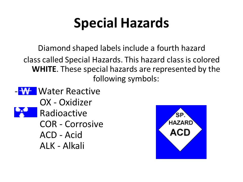 Diamond shaped labels include a fourth hazard