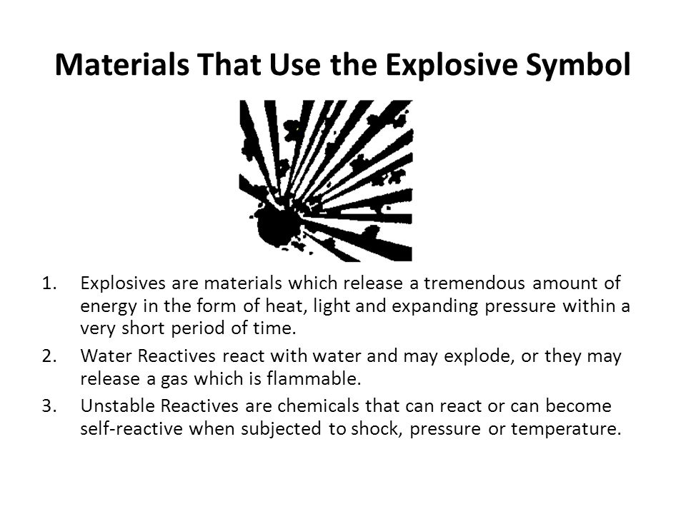 Materials That Use the Explosive Symbol