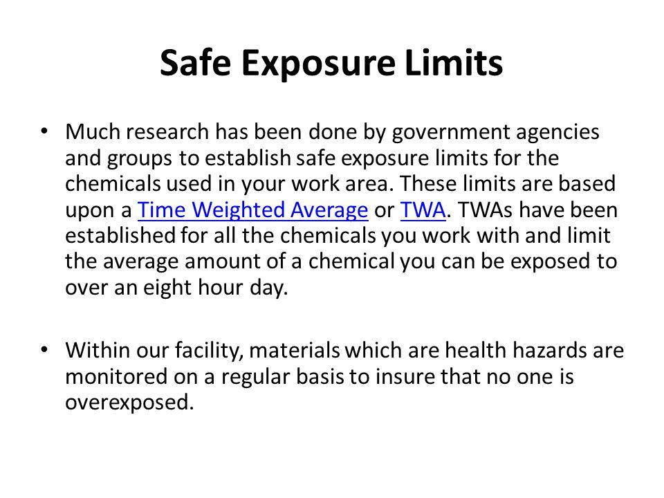 Safe Exposure Limits
