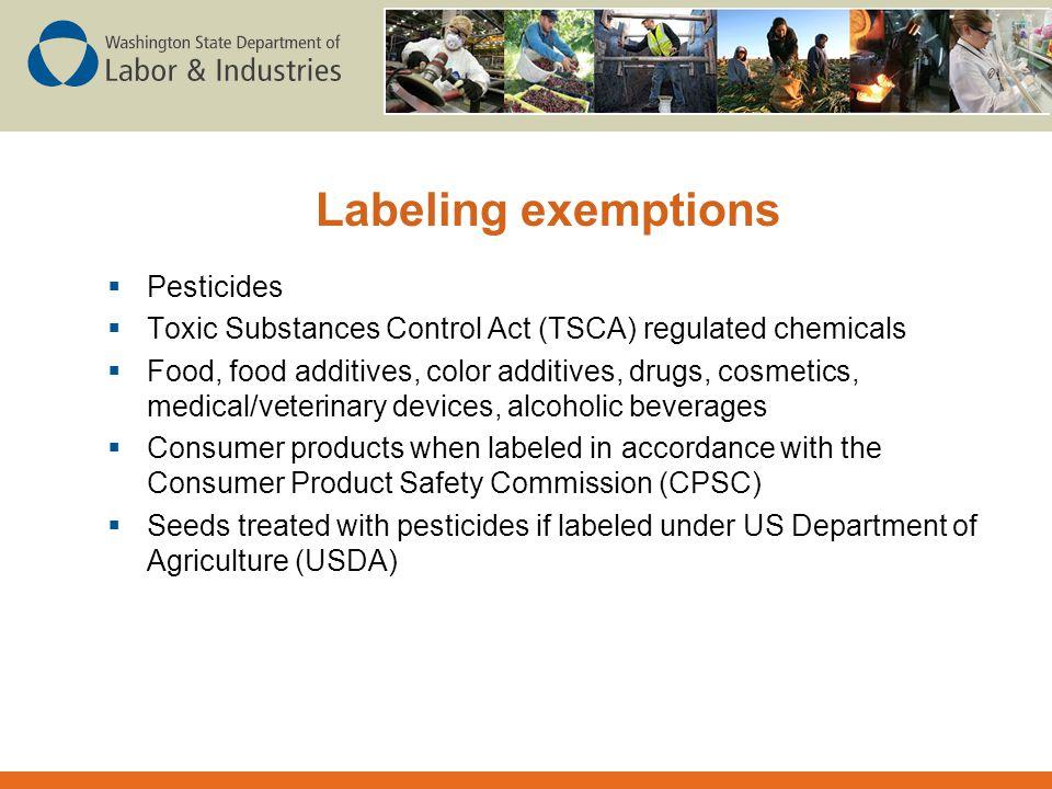 Labeling exemptions Pesticides