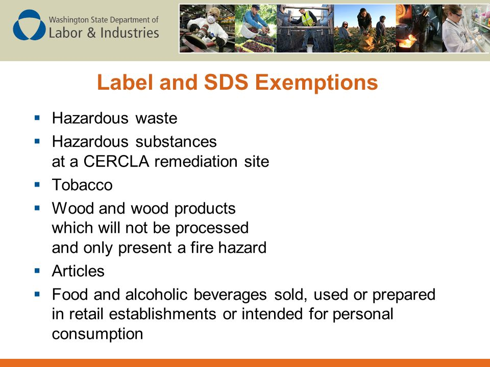 Label and SDS Exemptions