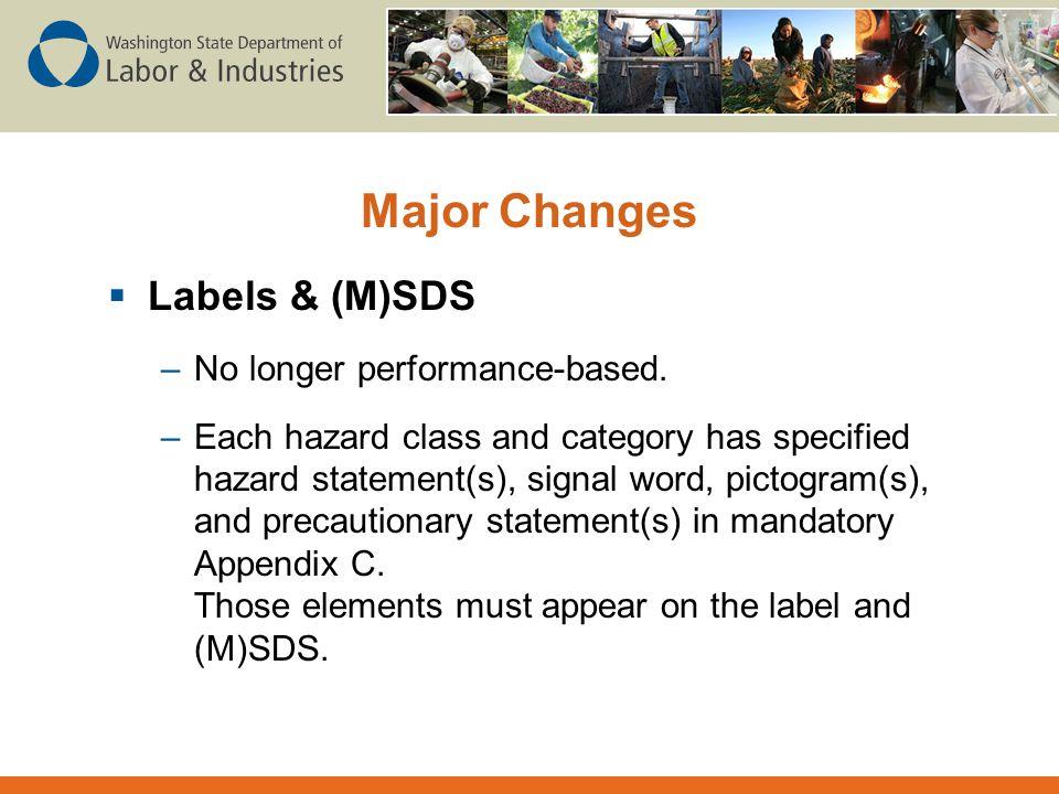 Major Changes Labels & (M)SDS No longer performance-based.