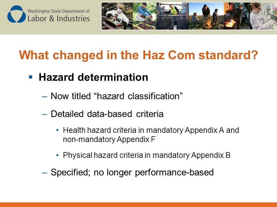 What changed in the Haz Com standard