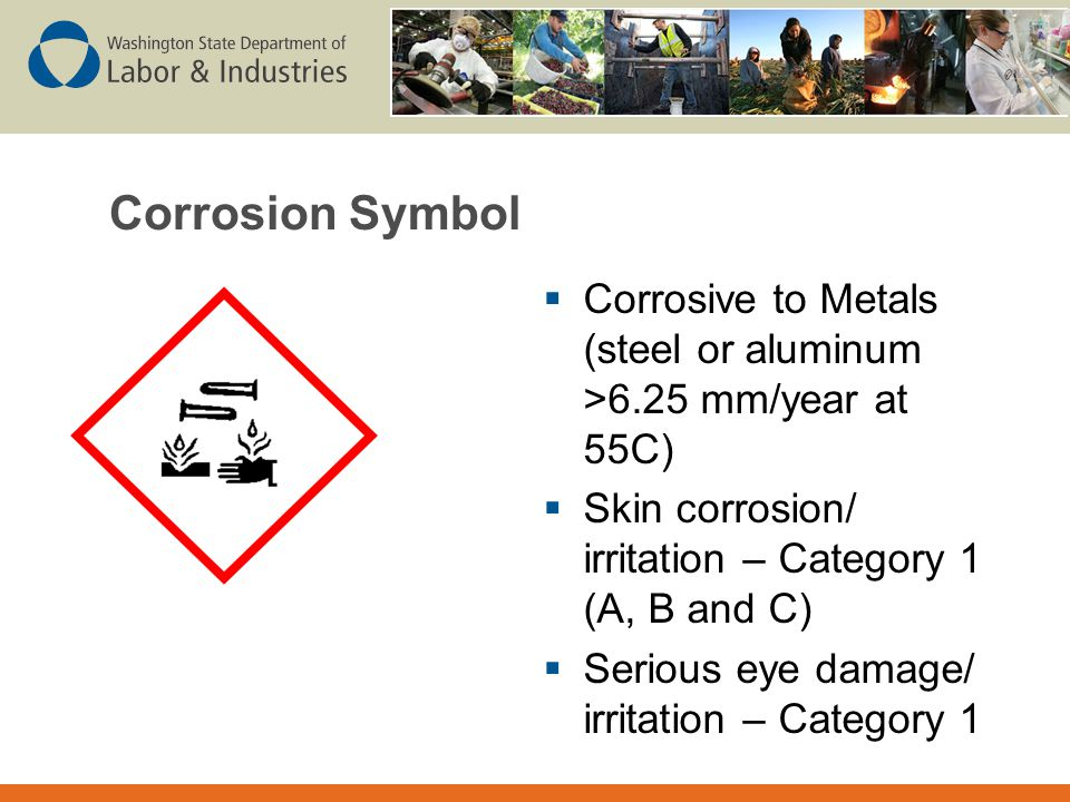 Corrosion Symbol Corrosive to Metals (steel or aluminum >6.25 mm/year at 55C) Skin corrosion/ irritation – Category 1 (A, B and C)