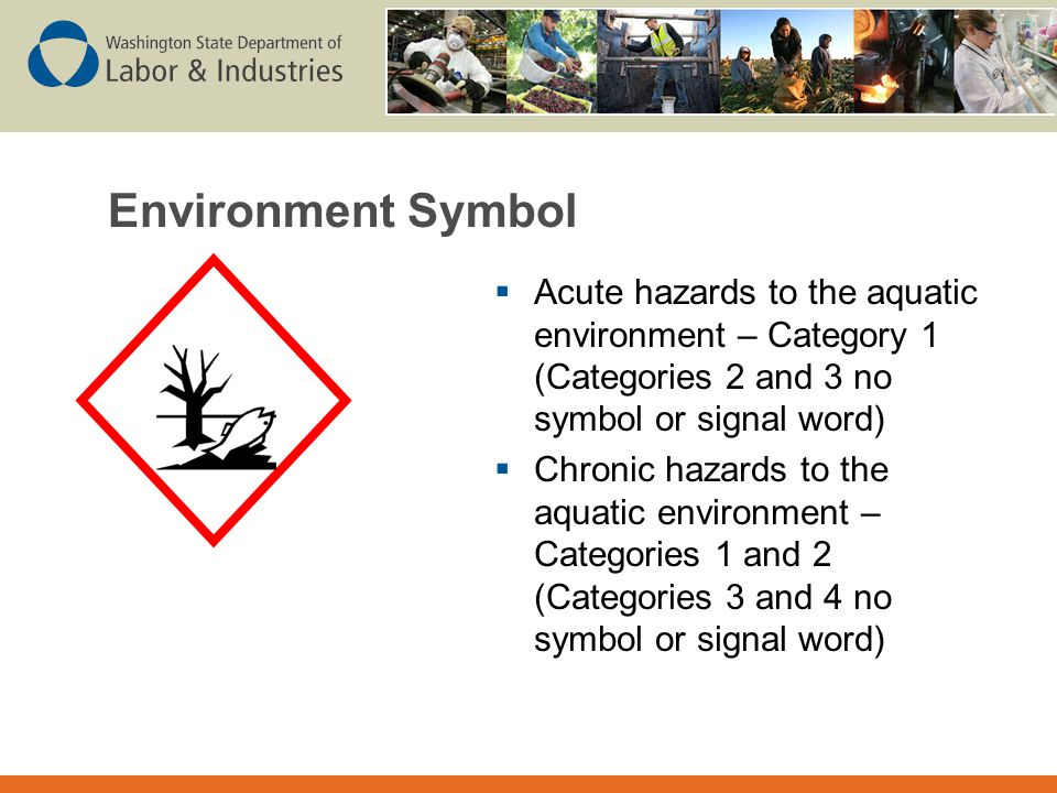 Environment Symbol Acute hazards to the aquatic environment – Category 1 (Categories 2 and 3 no symbol or signal word)