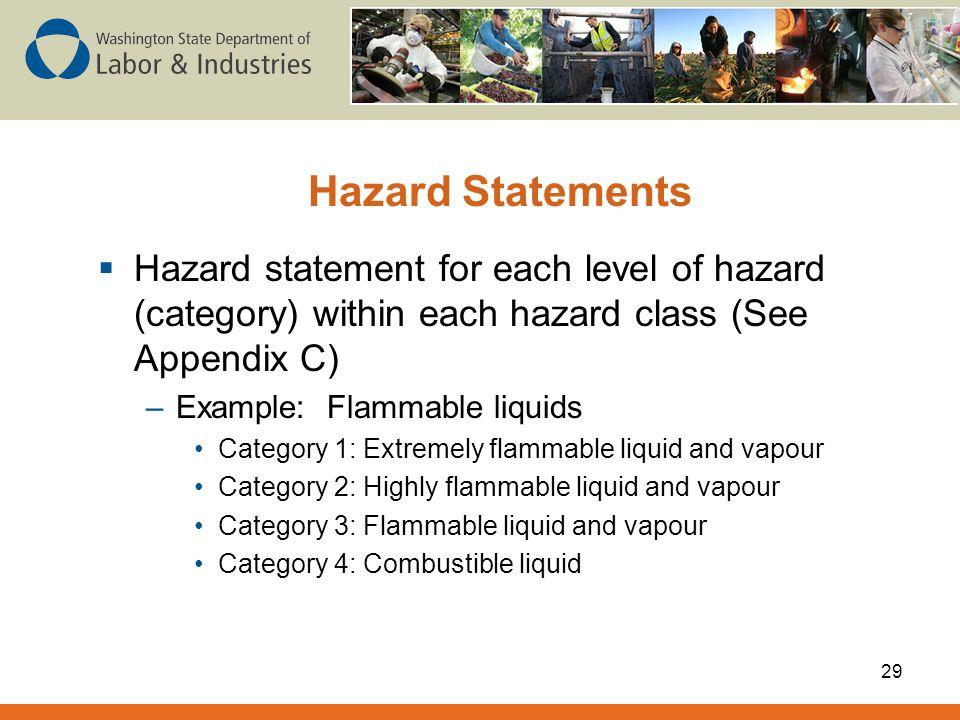 Hazard Statements Hazard statement for each level of hazard (category) within each hazard class (See Appendix C)