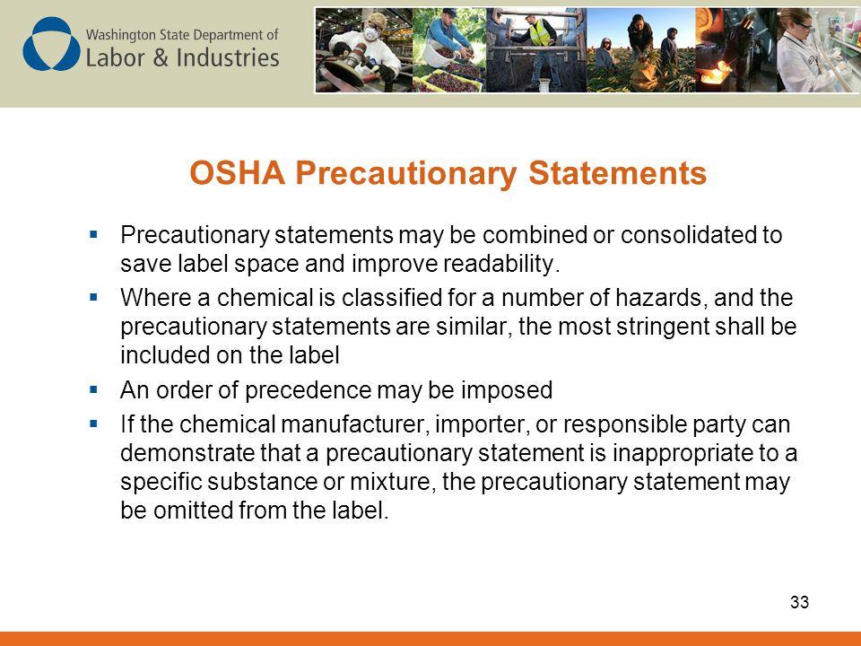 OSHA Precautionary Statements