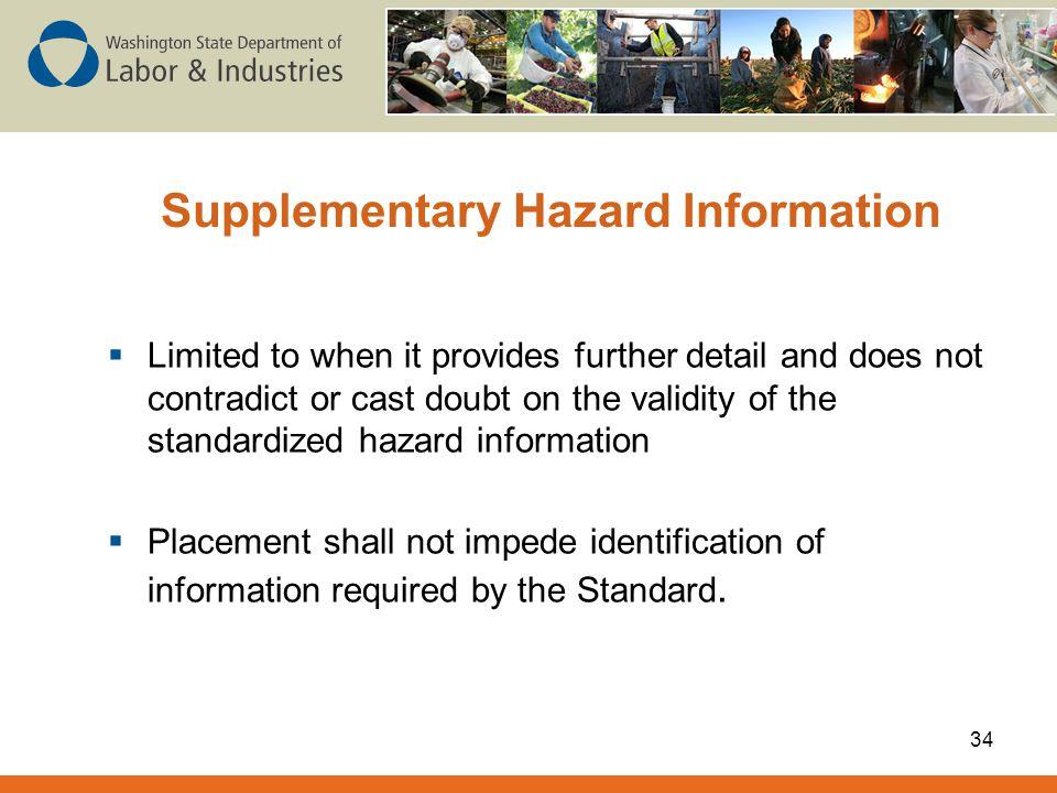 Supplementary Hazard Information