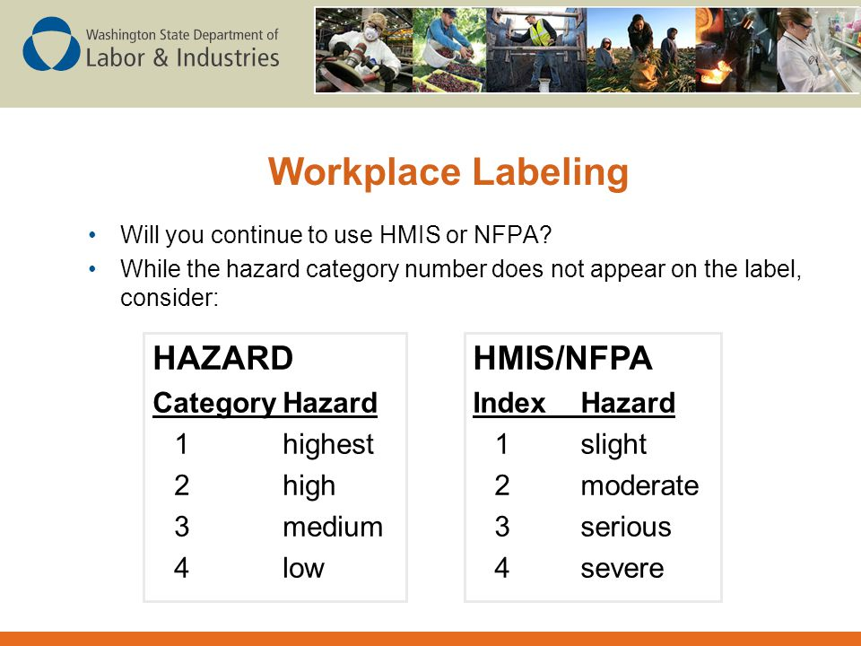 Workplace Labeling HAZARD HMIS/NFPA Category Hazard 1 highest 2 high