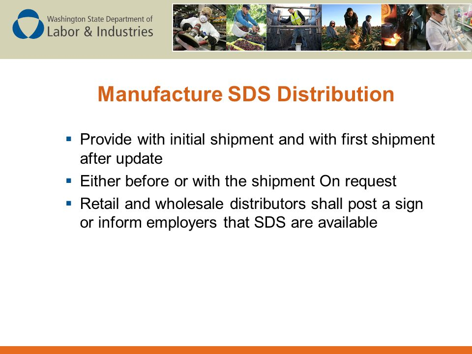 Manufacture SDS Distribution