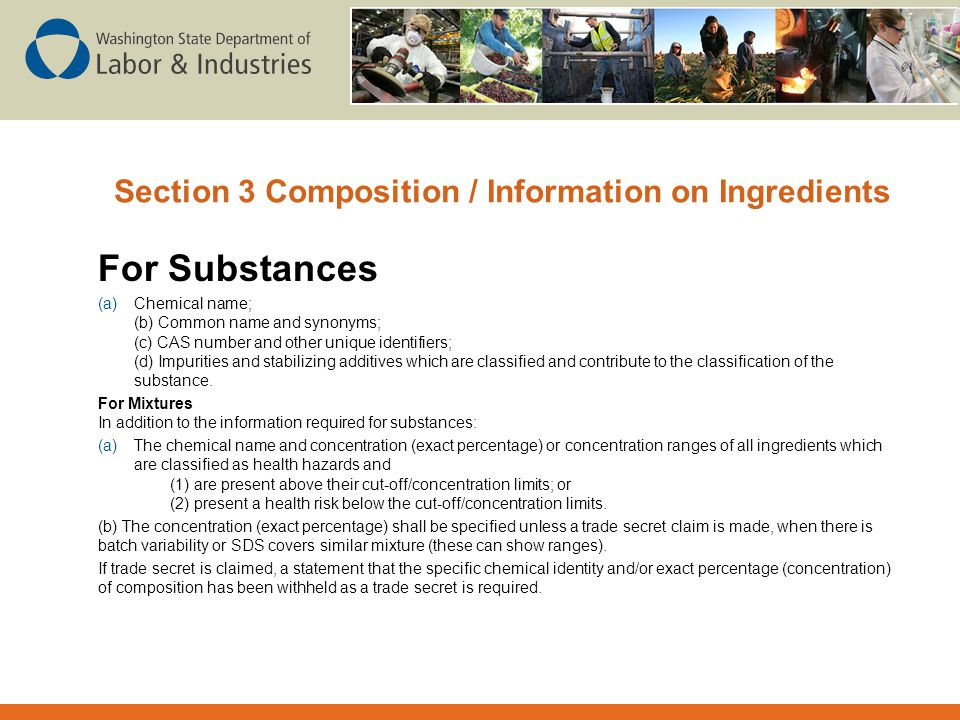 Section 3 Composition / Information on Ingredients