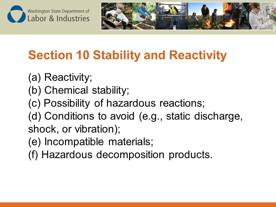Section 10 Stability and Reactivity
