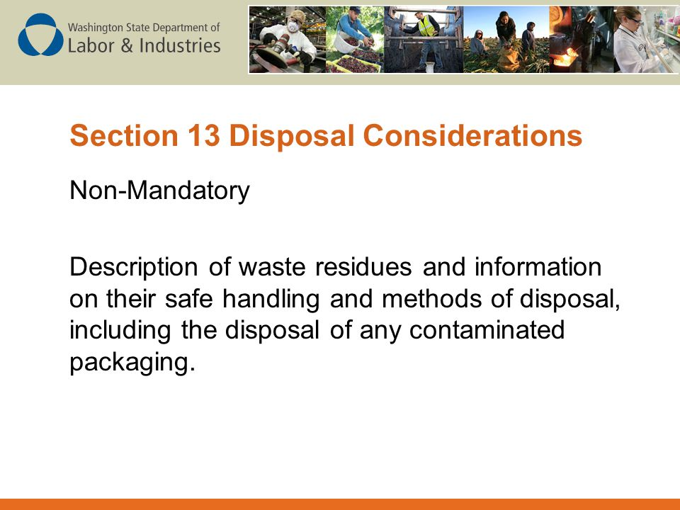 Section 13 Disposal Considerations