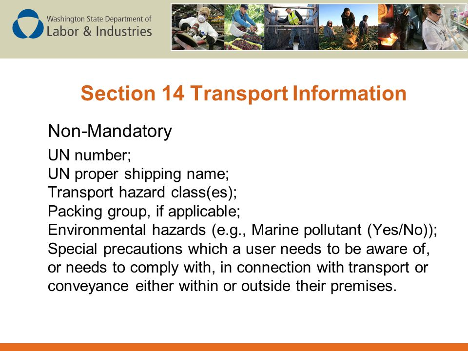 Section 14 Transport Information