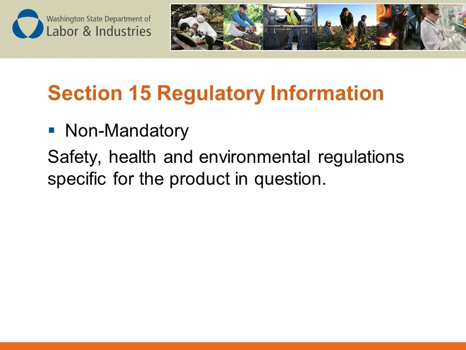 Section 15 Regulatory Information