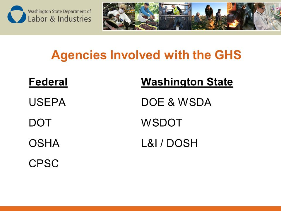 Agencies Involved with the GHS
